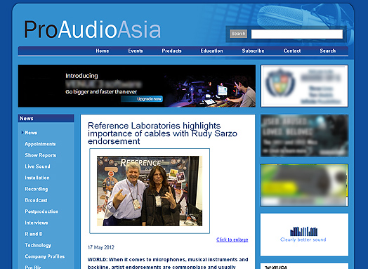 Reference Laboratories highlights importance of cables with Rudy Sarzo endorsement- read the original version on Pro Audio Asia website...